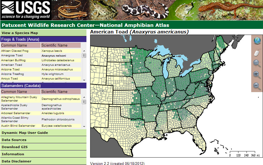 A screenshot of the National Amphibian Atlas website