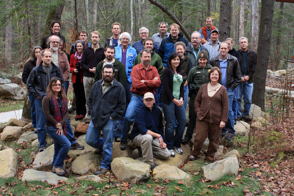 Group photo of researchers attending annual meeting at the Great Smoky Mountains National Park in 2009.
